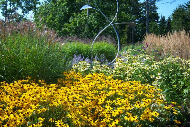 Early September Planting Combination with Sculpture